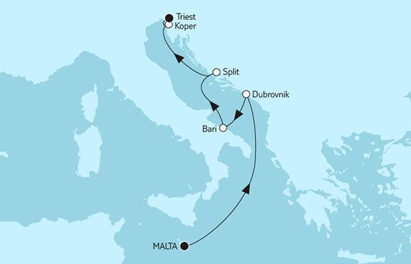 Valletta bis Triest mit Dubrovnik